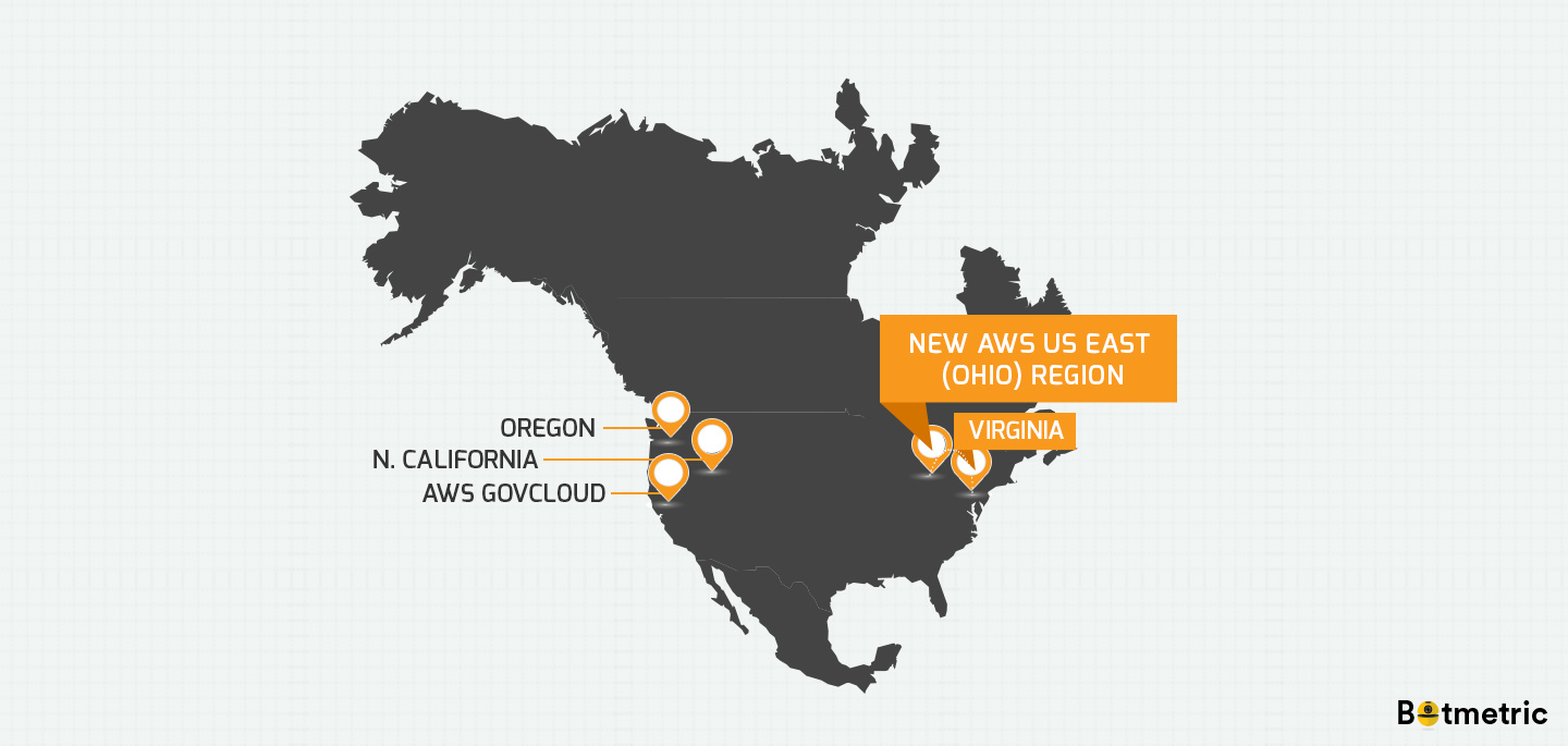 New Aws Ohio Region Is A Great News For Aws Virginia Customers - Us-east-region-map